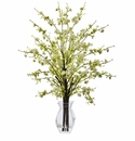 "26"" Artificial Cherry Blossom Flower Arrangement in Glass Vase  - White"