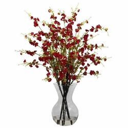"30"" Artificial Cherry Blossoms Flower Arrangement in Vase - Red"