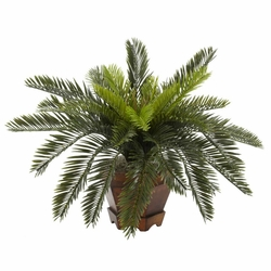 "15"" Cycas with Hexagon Vase Silk Plant"