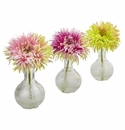 "10.5"" Silk Daisy with Glass Vase (Set of 3) - Pastel Palet"