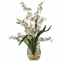 "19"" Dancing Lady Orchid Liquid Illusion Silk Flower Arrangement - White"