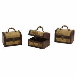 """5"""" Decorative Chest with Map Design (Set of 3) - Planter"""