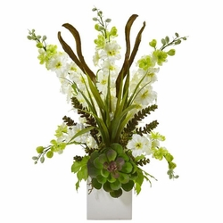 "23"" Silk Delphinium and Artificial Succulent Arrangement - White"