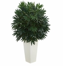 "37"" Double Bamboo Palm Artificial Plant in White Tower Vase"
