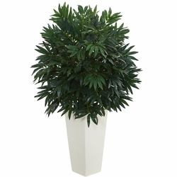 "37"" double bamboo palm artificial plant in white tower vase - floor"