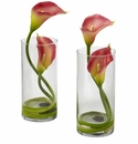 "10.5"" Pink Double Calla Lily in Cylinder Vases (Set of 2)"