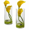 "10.5"" Yellow Double Calla Lily in Cylinder Vases (Set of 2)"