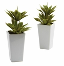 """11.5"""" Double Mini Artificial Agave Plant with Planter (Set of 2)"""