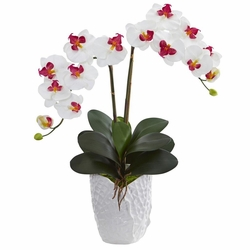"23"" Double Phalaenopsis Orchid Artificial Flower Arrangement in White Vase"