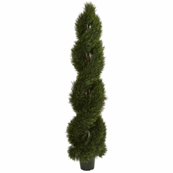 6' Double Pond Cypress Spiral Topiary UV Resistant (Indoor/Outdoor)