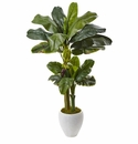 5' Artificial Double Stalk Banana Tree in White Planter