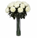 "31"" Artificial Fancy Rose Silk Flower Arrangement - White"