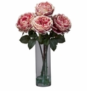 "18"" Fancy Rose with Cylinder Vase Silk Flower Arrangement - Pink"