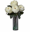 "18"" Fancy Rose with Cylinder Vase Silk Flower Arrangement - White"