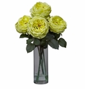 "18"" Fancy Rose with Cylinder Vase Silk Flower Arrangement - Yellow"