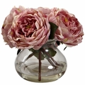 "8"" Artificial Silk Flowers Fancy Roses Arrangement with Vase"