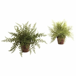 "12"" Artificial Fern with Decorative Planter (Set of 2)"