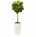 4.5' Artificial Fiddle Leaf Fig Topiary Plant in White Container (Real Touch)