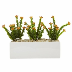 "9.5"" Artificial Flowering Sedum Cactus Arrangement in Rectangular Planter"