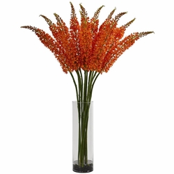 "48"" Fox Tail Artificial Arrangement in Glass Cylinder"