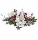 "6.5"" Frosted Magnolia Flower & Berry Artificial Arrangement Candelabrum"