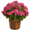 Geranium Artificial Plant in Decorative Planter  - Pink