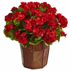 Geranium Artificial Plant in Decorative Planter  - Red