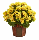 Geranium Artificial Plant in Decorative Planter  - Yellow
