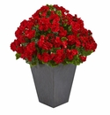 Geranium Artificial Plant in Slate Plater UV Resistant (Indoor/Outdoor) - Red