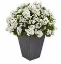 Geranium Artificial Plant in Slate Plater UV Resistant (Indoor/Outdoor) - White