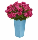 Geranium Artificial Plant in Turquoise Planter UV Resistant (Indoor/Outdoor) - Beauty