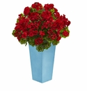 Geranium Artificial Plant in Turquoise Planter UV Resistant (Indoor/Outdoor) - Red