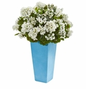 Geranium Artificial Plant in Turquoise Planter UV Resistant (Indoor/Outdoor) - White