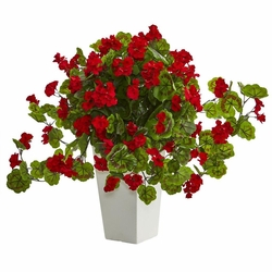 "27"" Geranium Artificial Plant in White Tower Planter"