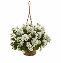 Geranium Hanging Basket Artificial Plant UV Resistant (Indoor/Outdoor) - White