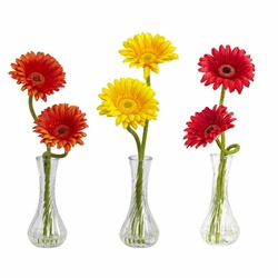 """13"""" Gerber Daisy with Bud Vase (Set of 3)"""