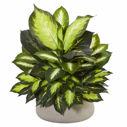"23"" Giant Dieffenbachia Artificial Plant in Stone Planter Arrangement"