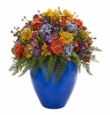 Giant Mixed Floral Artificial Arrangement in Blue Vase -