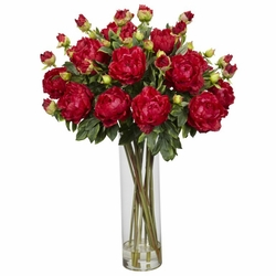"38"" Giant Peony Silk Flower Arrangement - Red"