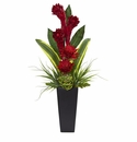 "35"" Ginger and Artichoke Artificial Tropical Arrangement in Black Vase"