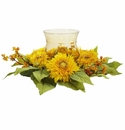"7.5"" Golden Sunflower Candelabrum Silk Flower Arrangement"