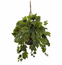 "22"" Silk Grape Leaf Hanging Bush in Basket"