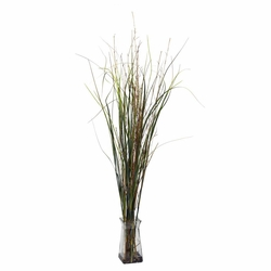 "46"" Grass & Bamboo with Glass Vase Artificial Plant"
