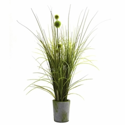 "26"" Artificial Grass & Dandelion with Cement Planter"