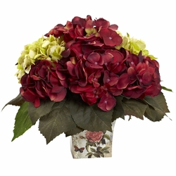 11 green burgundy hydrangea silk flower arrangement every day 11 green burgundy hydrangea silk flower arrangement mightylinksfo