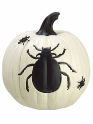 Halloween Special - Artificial Spider on White Pumpkin
