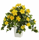 "27"" Hibiscus Artificial Plant in White Tower Planter"