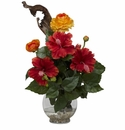 "16"" Artificial Hibiscus & Ranunculus with Fluted Bowl Silk Flower Arrangement"