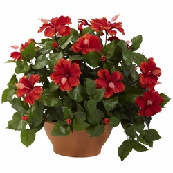 "20"" Artificial Hibiscus Silk Flower Arrangement with Clay Planter"