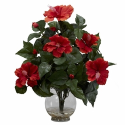 "17"" Artificial Hibiscus with Fluted Vase Silk Flower Arrangement"